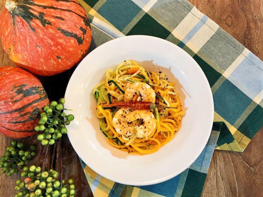 Espaguetis-de-Calabacín-y-Calabaza-con-Langostinos-Portada