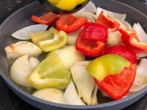 Receta de curry rojo de langostinos- pimientos