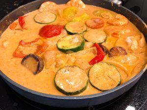 Receta de curry rojo de langostinos- verduras