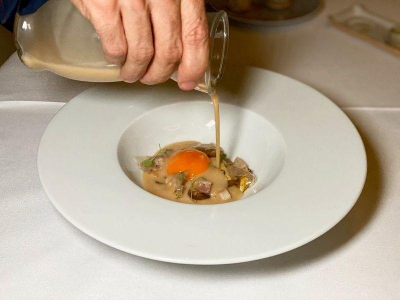 huevo de Mos restaurante A´Barra en Madrid