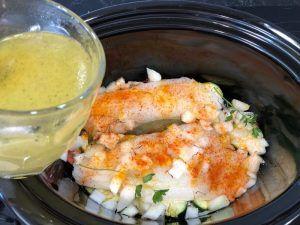 bacalao crock pot verduras azafrán caldo