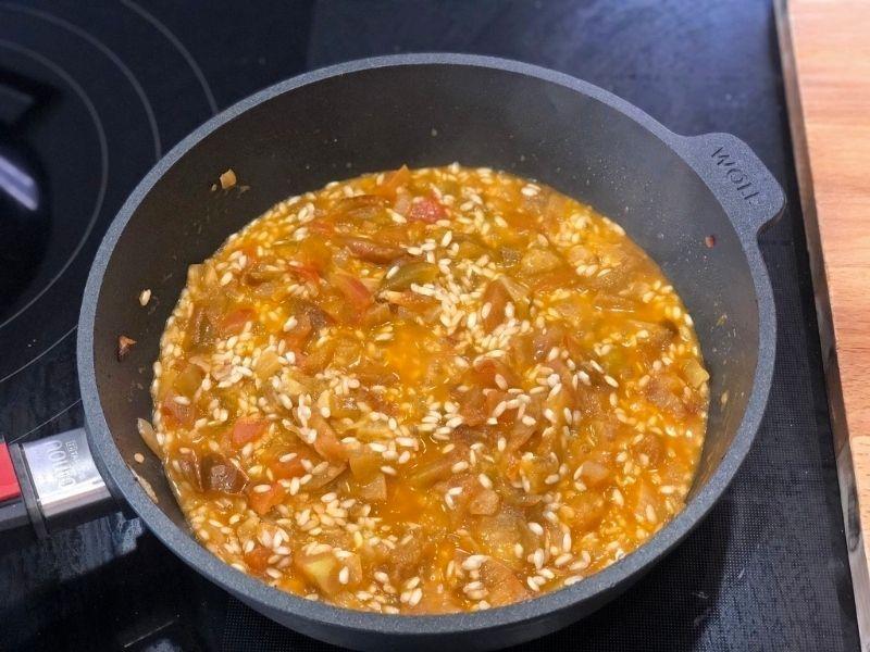 elaboración risotto de gambas
