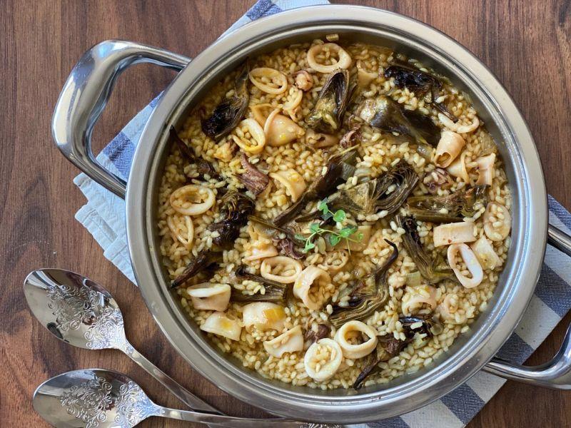 arroz con alcachofas y chipirones