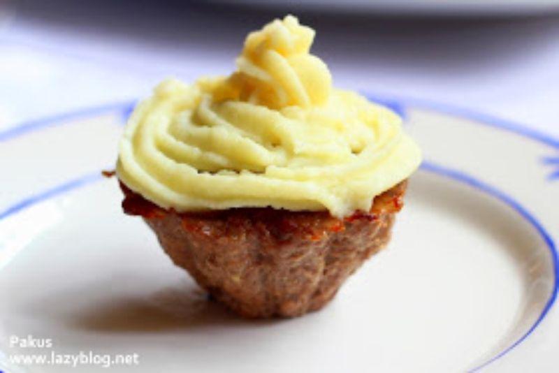 pastel de carne cupcake