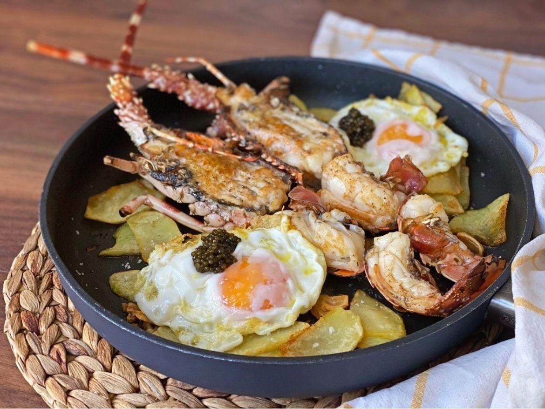 receta langosta huevos con patatas
