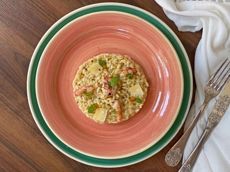 risotto parmesano con gambas