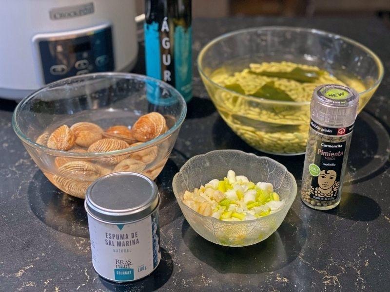 verdinas con almejas ingredientes