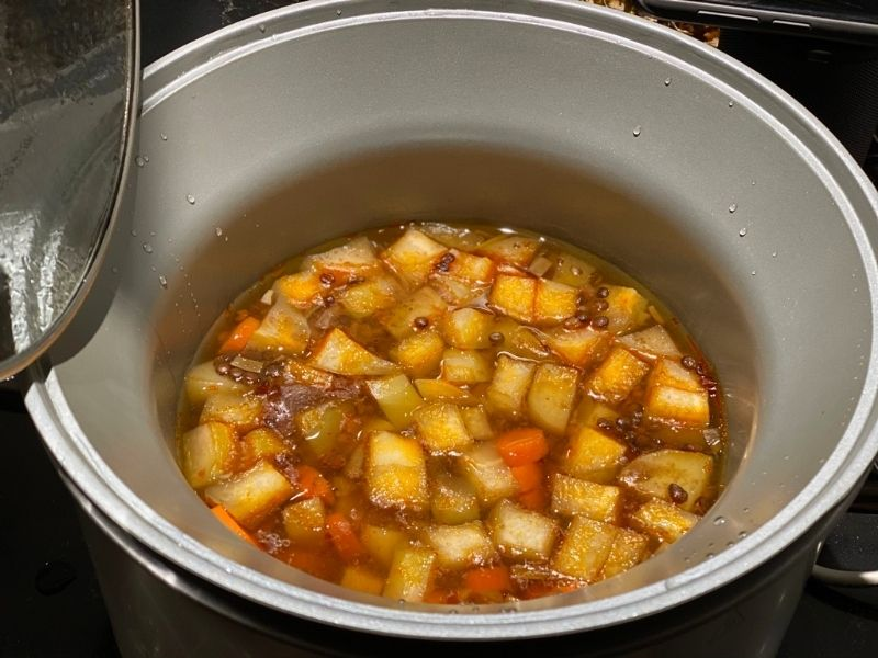 ingredientes lentejas con verduras en crock pot