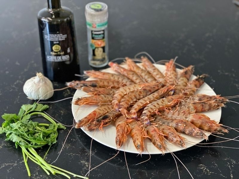 ingredientes langostinos de Sanlúcar al horno